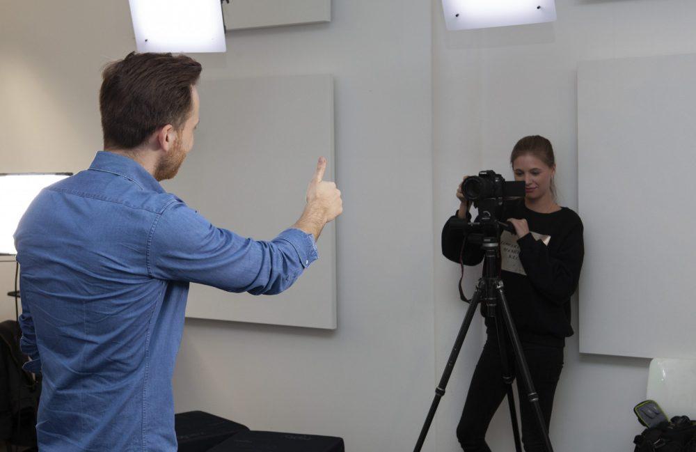 Dreharbeiten der Medienpychologen an der FHM Bielefeld